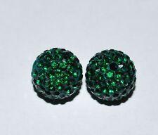 2 12mm Swarovski Rhinestone Pave Ball Beads Emerald - AS37