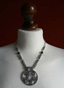 Diamante Studded and Swirled Disc Drop Necklace