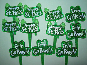 IRISH SHAMROCK PRINTED CUPCAKE DECORATING PICKS - 2 designs