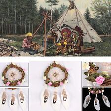 Atrapasueños con caña Flores Vid Pluma Decoración Colgante adorno manualidades