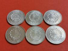 Lot 6 pièces argent 50 Francs Hercule an 1974 / 75 / 76 / 77 / 78 / 79 Lot n° 16