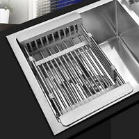 Stainless Steel Dish Drying Rack Telescopic Filter Basket Kitchen Sink Organizer