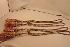 "Drapery Silky Tie Backs-Lt Green/Peach-Set of 2-Loops about 15""Tassels about 8"""
