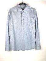 ROBERT GRAHAM Mens Shirt XL Blue Paisley Long Sleeve Flower Flip Cuff Cotton