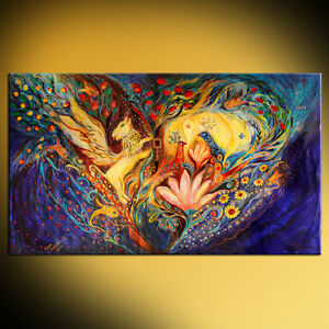 The Golden Griffin: contemporary judaica symbolism art print by Elena Kotliarker