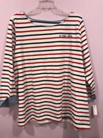 Talbots 3x Top Womens Plus Size 3X Top Blouse Shirt Striped Red Navy White NWT