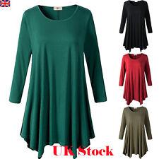 Womens Solid Basic Plus Size Long Sleeve Long Blouse T-shirt Top Tunic Dress UK
