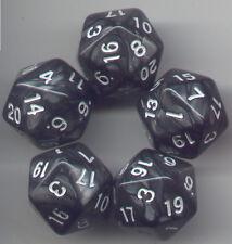 RPG Dice Set of 5 D20 - Pearl Black w/white ink