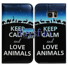 Bcov Keep Calm Love Animal Wallet Leather Cover Case For Samsung Galaxy S7