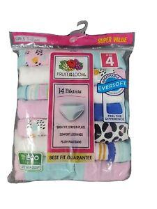 Fruit Of The Loom Girls Panties Underwear Size 4 Bikini 14-Pack Tagless Pink