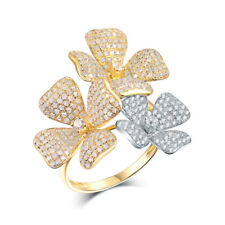 Luxury! 14K Gold Two-Tone Diamond Wedding Propose Fancy Flower Ring Pave Setting
