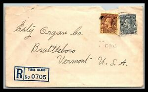 GP GOLDPATH: TURKS & CAICOS COVER 1934 REGISTERED LETTER _CV568_P16
