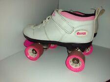 """New listing Chicago """"Bullet"""" Roller Skates Ladies Sz 8, White  & Pink,  Quad Skates Speed"""