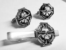 CELTIC Skull German Iron Cross Harley Biker Military TIE BAR CLIP CUFFLINKS SET