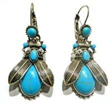GOLD-TONE HOWLITE SCARAB BEETLE EARRINGS faux turquoise Egyptian insect Ra E3