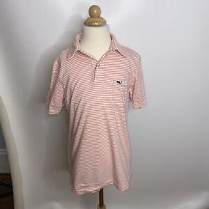 Vineyard Vines Boys Pink White Striped Polo Shirt Sz Small 8-10
