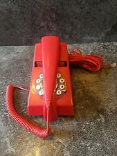 More details for red telephone push button trim phone retro vintage 70s wild and wolf 1970s