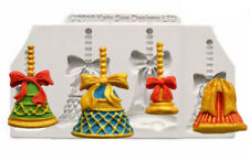 Christmas Bells 4 Cavity Silicone Mold for Chocolate, Fondant, Gum Paste,