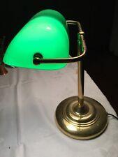Tischleuchte aus Messing mit grünem Glasschirm, Bänkerlampe