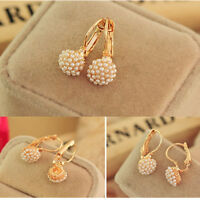 New Fashion Jewelry Women Lady Elegant Pearl Beads Ear Hoop Stud Earrings