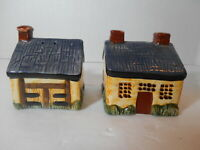 Ceramic Cottage House and Barn Salt & Pepper Shakers
