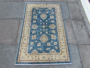 Vintage Hand Made Traditional Oriental Wool Blue Small Rug 147x95cm