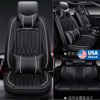 Black PU Leather 5-Seats Car Seat Covers Set Front + Rear Cushion Pad w/ Pillows