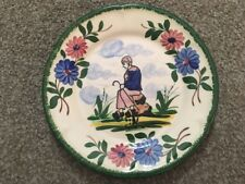 "Desvres Decorative Plate Hand Painted In France W/ Dutch Women 7.5"" Green"