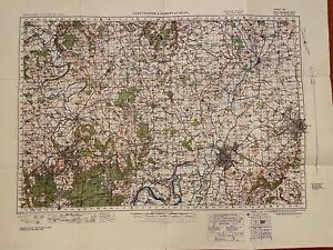 Map of Gloucester & Forest Of Dean WW2 WAR 1940 Ordnance Survey Linen Sheet #92