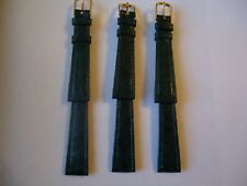 LOT OF 3 pcs Green Genuine Leather Watch Bands 14mm New Old Stock Lot# E15