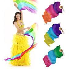 1.8m Long Belly Dance 100% Silk Bamboo Fan Veil 1 Pair(left+right) 18 Colors