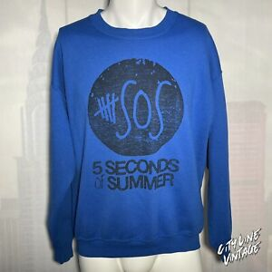 5 Five Seconds of Summer Rock Band Sweatshirt Blue Men's Large