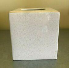Croscill Pearlescent Square Tissue Box Porcelain Cream Ivory Luster &  Gold NIB
