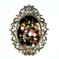 Vintage Oval Convex Glass Ornate Metal Picture Frame Art Nouveau Large 13.5""