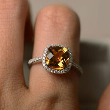 2.70 Ct Citrine Engagement Ring 14K White Gold Natural Diamond Rings Size N M