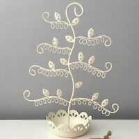 VINTAGE CREAM SHABBY CHIC WIRE JEWELLERY EARRING STAND TREE DRESSING TABLE GIFT