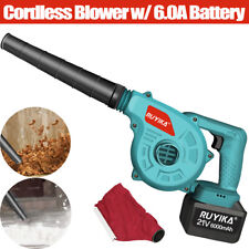 More details for 21v cordless leaf dust blower vacuum yard garden lightweight tool 6.0a battery