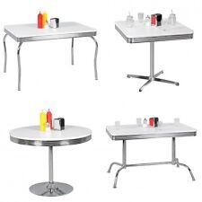 Esstisch Küchentisch American Diner Weiß Alu Design Retro USA Bistrotisch Metall