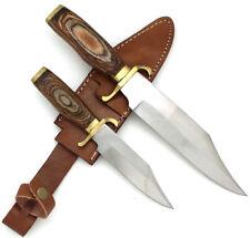 Wild Turkey Handmade 2 Piece Bowie Knife Set w/ Leather Sheath