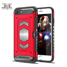 Luxury Heavy Duty Armor Card Slot Magnetic Case Cover For iPhone X 5 6s 7 8 Plus