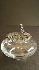 Vintage Metzke Pewter Glass Potpourri Jar Cat Design Cover