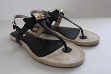 Louise et Cie Women's Sandal Adrean Black Leather Bow Heel Sandals Shoe Size 7 M