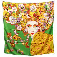 """Women's 100% Twill Silk Scarf / Green / Asian Print / 34"""" X 34"""""""