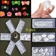 6pcs Fashion 3D Acrylic Silicone Mold Mould for Nail Art DIY Decoration Hot
