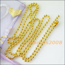 4 Necklaces Gold Silver Bronze Plated 1.5mm beads w/connector Ball Chains 50cm