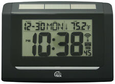 65906 Equity by La Crosse EcoTech Solar Atomic Wall Clock with IN Temperature