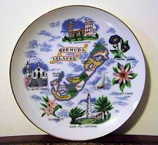 Bermuda Islands Map Souvenir Plate Sessions House Gibbs Hill Lighthouse Oleander