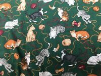 CATS, KITTENS with Spools/Yarn Fabric.-100% cotton- 3  5/8 yards - Green backgrn