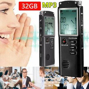 32GB Digital Diktiergerät Tragbare MP3 Aufnahmegerät Audio Sound Voice Recorder