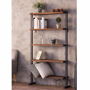 MyGift 5-Shelf Industrial Metal & Wood Bookcase Decorative Home Shelving Unit